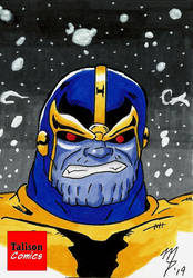 Thanos Starfield Sketch Card by TalisonComics