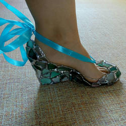 Decorative Cinderella shoe, sea stained glass by KateMurphy