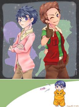Osamu and Ryo crossdress as Tieria and Lockon