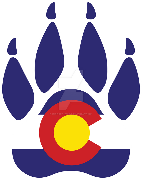 Colorado Wolf Paw Print Decal