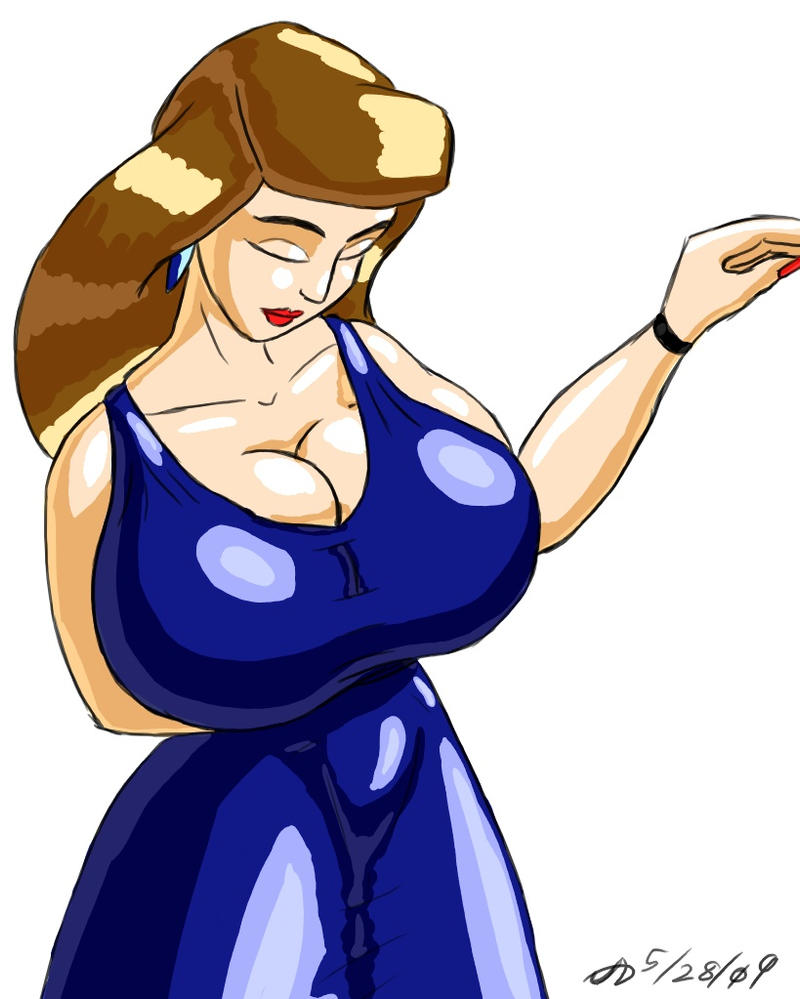 Busty in Blue Dress by ArchangelDreadnought