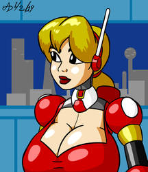 Busty Blonde Robot Girl by ArchangelDreadnought