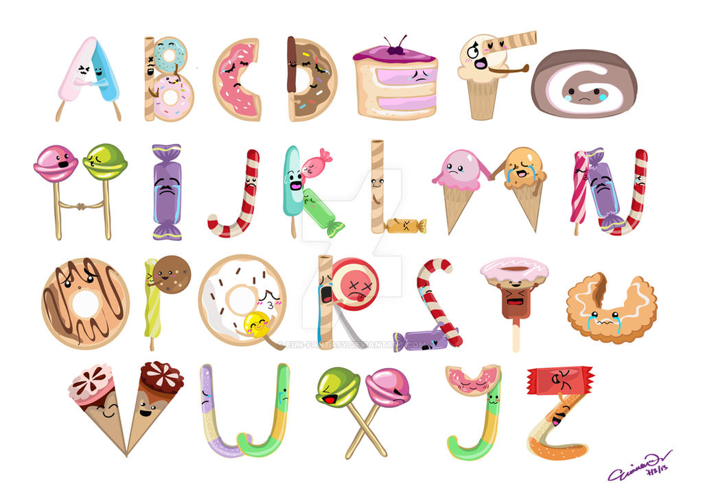Cute Emotional Dessert Alphabets By Eun Fantasy