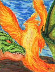 Phoenix and Black Dragon by Msterope