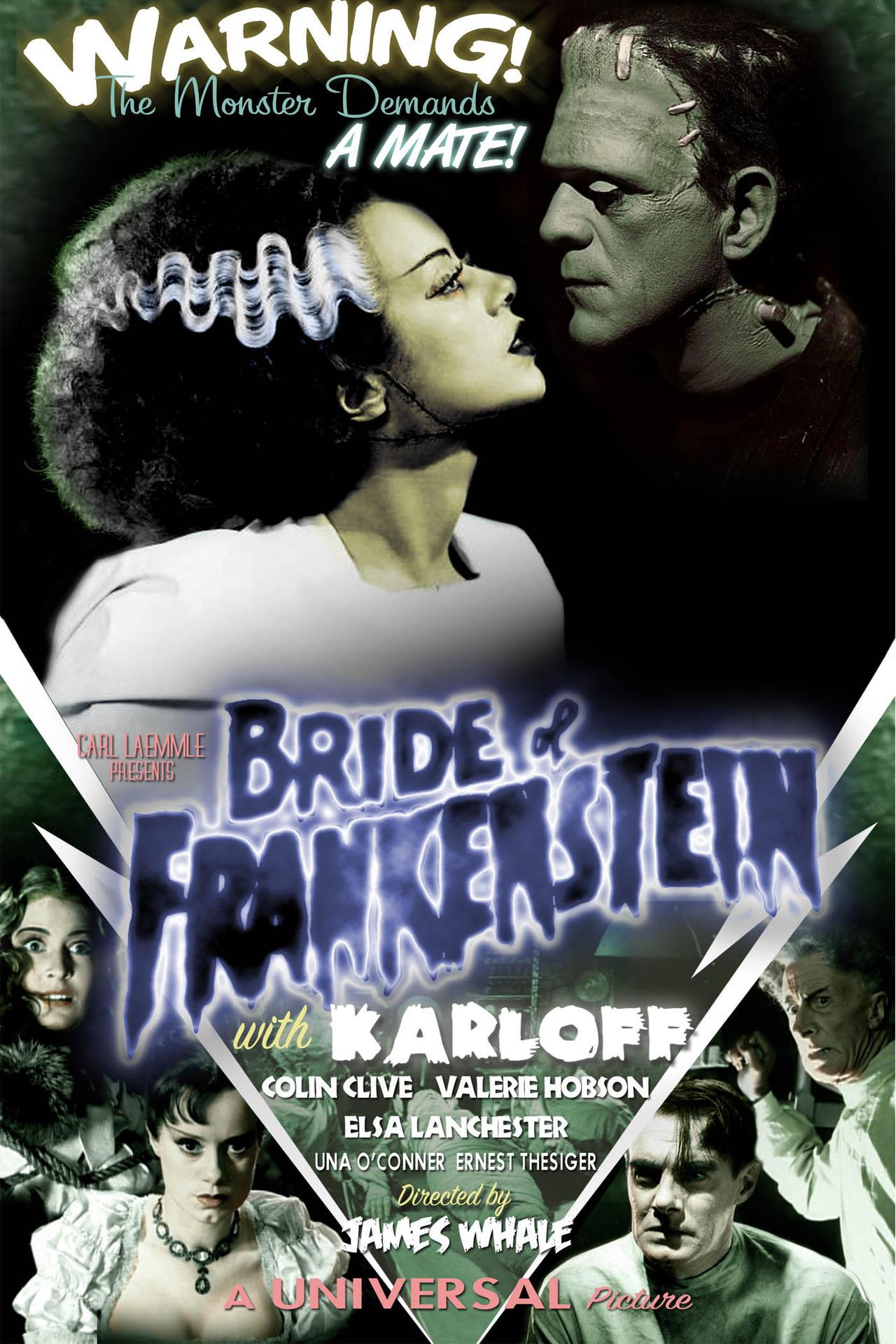 bride of frankenstein movie poster by duncecapdan on