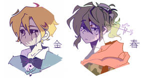 Goldie and Spring as..uh..anime boys (FNaF 2,3)