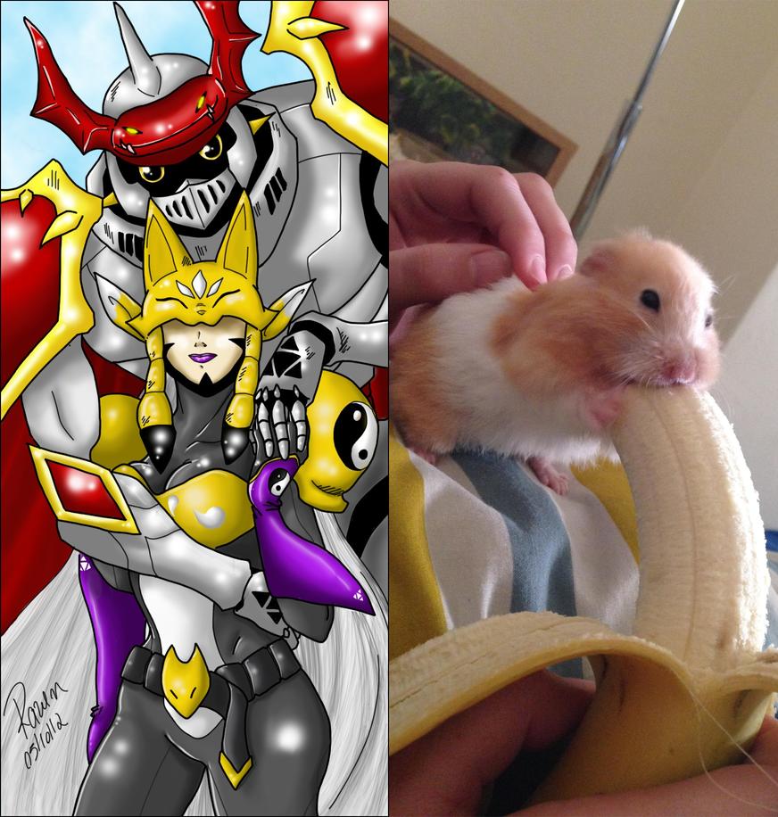Gallantmon x Sakuyamon Hamster Banana by GojiBob
