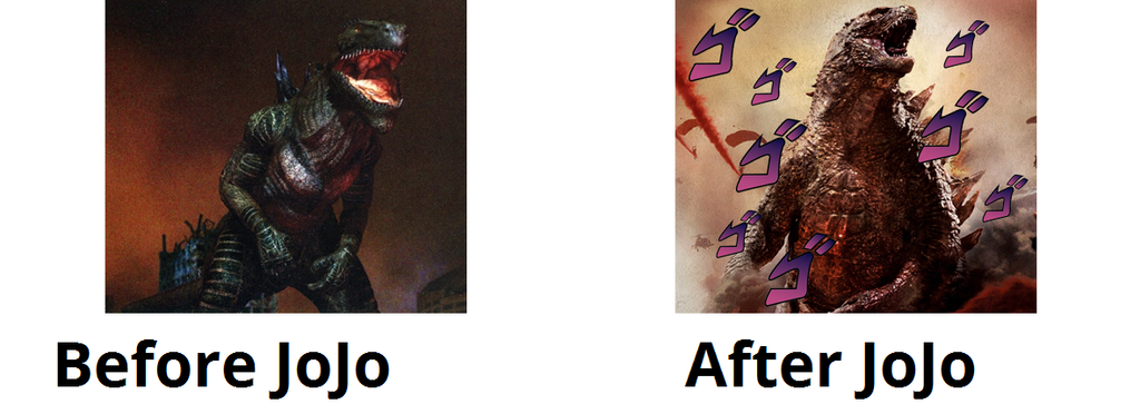 Before and After JoJo Godzilla by GojiBob
