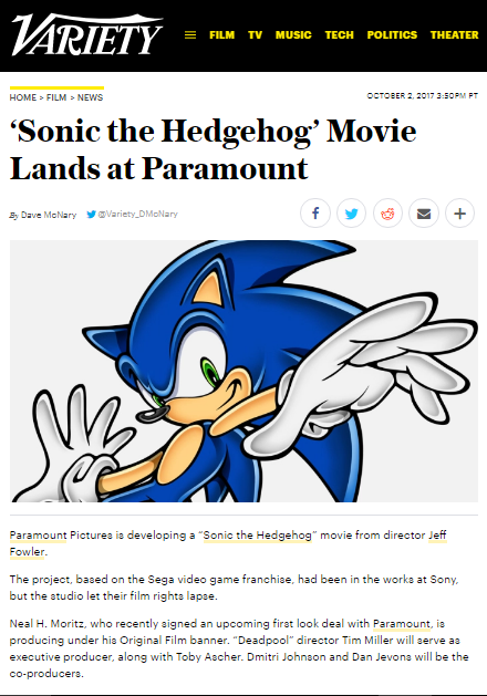 'Sonic the Hedgehog' Movie Lands at Paramount by GojiBob