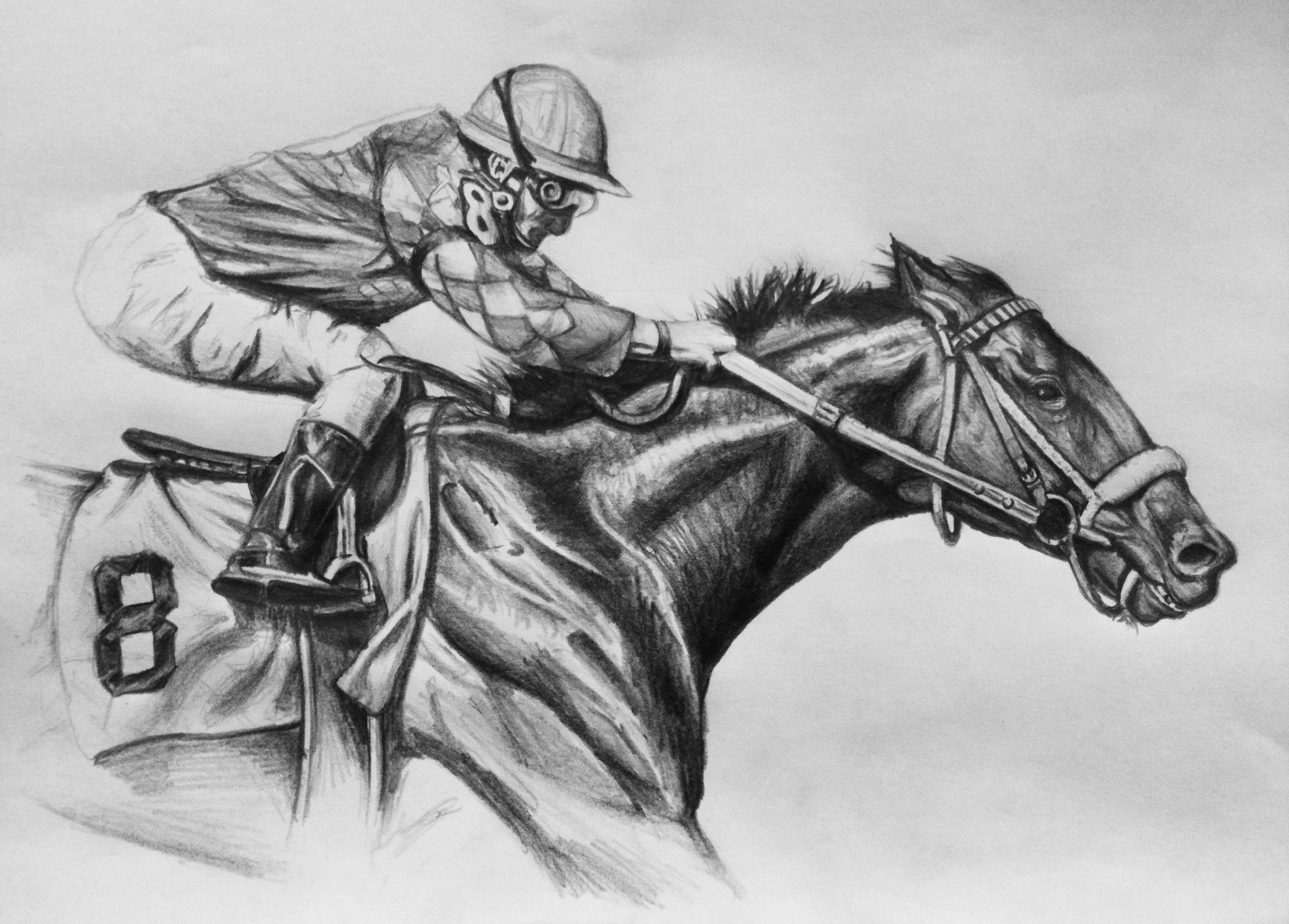 how to draw a race horse