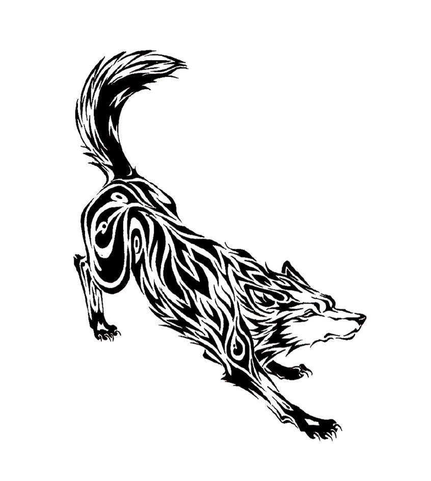 Creeping Wolf Tribal Tattoo by Tofu123