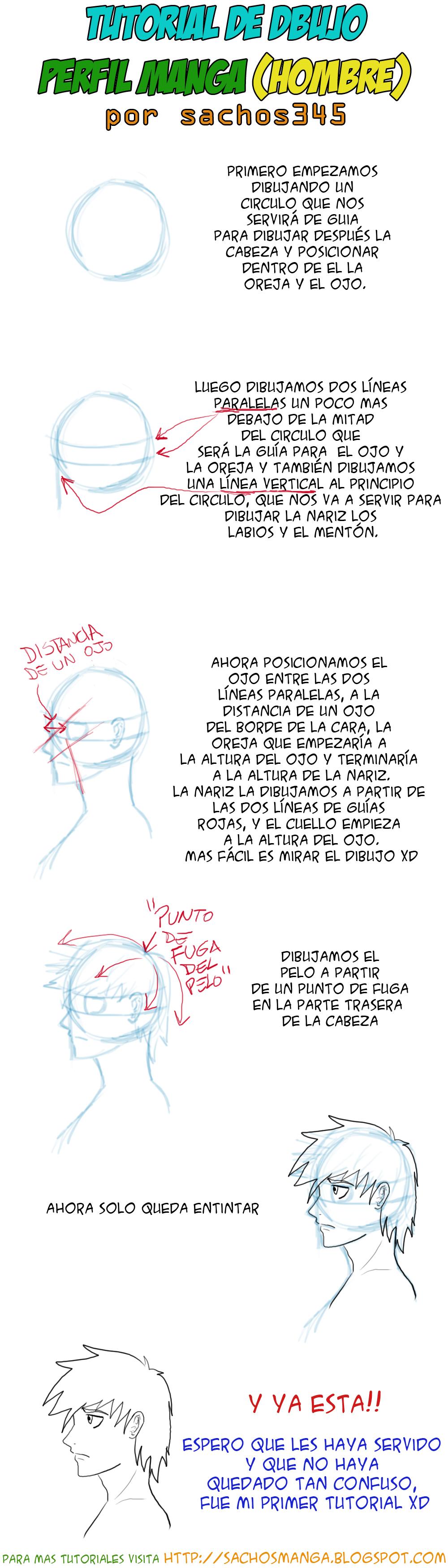 tutorial de dibujo manga perfil masculino