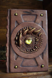 Leather notebook with dragon eye on the cover by Dragonariums