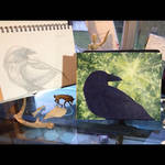 Raven Totem Painting - WIP