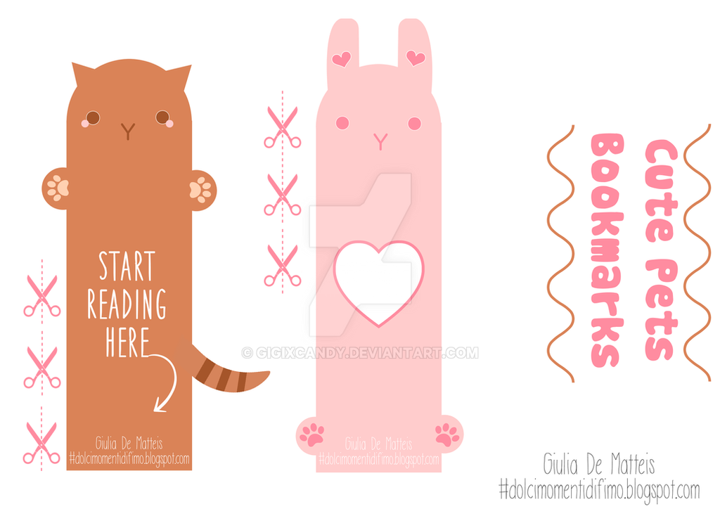 FREE PRINTABLE - CUTE PETS BOOKMARK by GigixCandy on