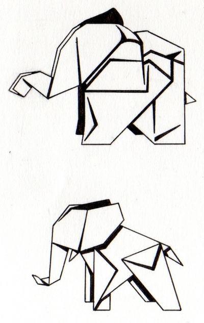 Elephant Drawin... Origami Elephant Tattoo