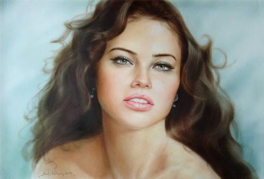 1054. portrait oil by dry brush. Adriana Lima