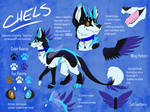 Chels [Husky Dragon] Fursona Reference Sheet