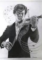 Sherlock with violin by Galinaxsim