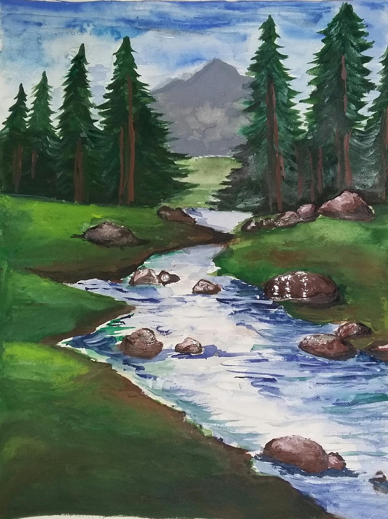 My first watercolor landscape by ishu58 on deviantart for My first watercolor painting