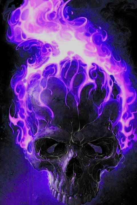 purple flamed skull by gchj555 on DeviantArt