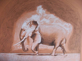 Elephant with exploding dust by SlyFoxLOL