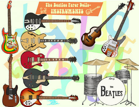 Beatles paper doll instruments