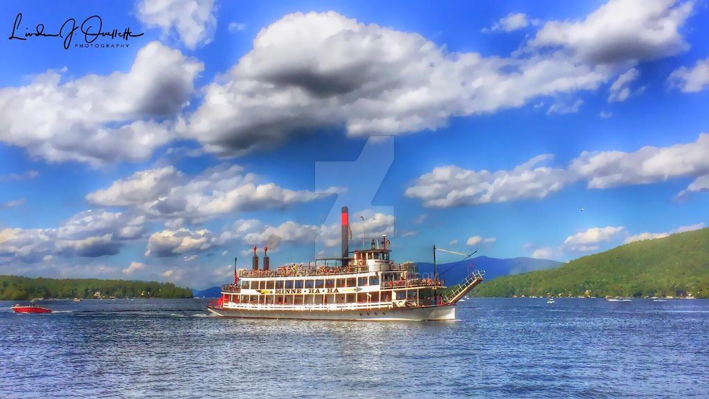 Steamboat Minne Ha Ha sailing on Lake George, NY by Ljoyce12