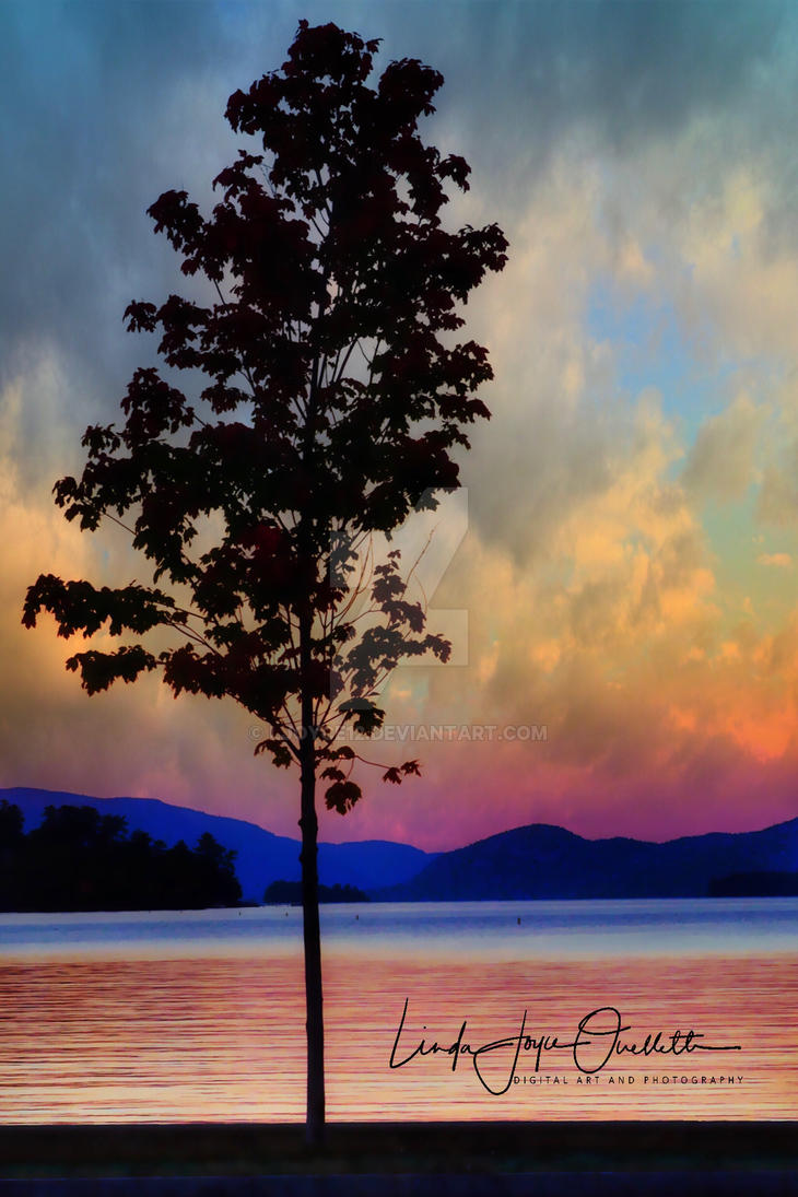 Autumn Silhouette: Lake George, New York by Ljoyce12