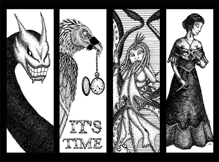 This is a picture of Dynamic Printable Bookmarks Black and White