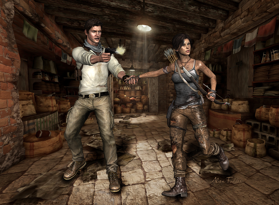 Lara Croft And Nathan Drake: Let's Get The Hell Out! By AlienFodder On