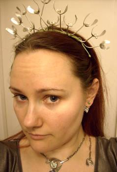 Mistletoe tiara in progress