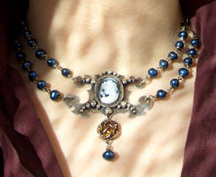 Blue cameo necklace by fairyfrog