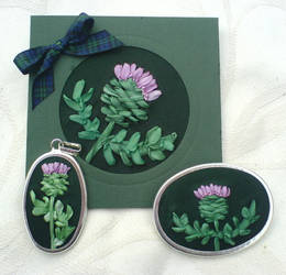 Silk ribbon Thistle cards