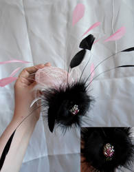 Pink and black rose fascinator by WeirdWondrous