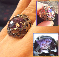 Tree branches silver ring with amethyst by WeirdWondrous