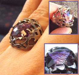Tree branches silver ring with amethyst