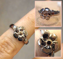 Forget-Me-Not gold ring by WeirdWondrous