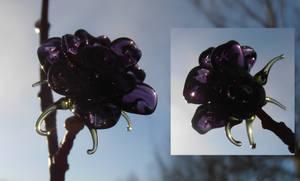 dark violet glass rose bead