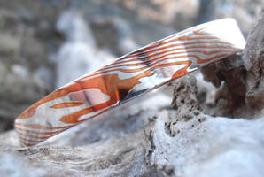 Mokume Gane silver and copper bangle view 2 by fairyfrog