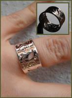 Elven Dream silver ring with pierced scrollwork by WeirdWondrous