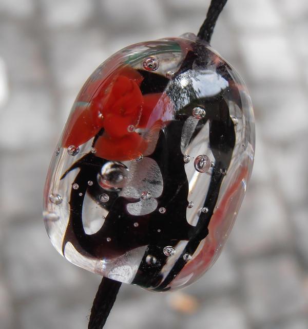Thornblossom lampwork bead by fairyfrog