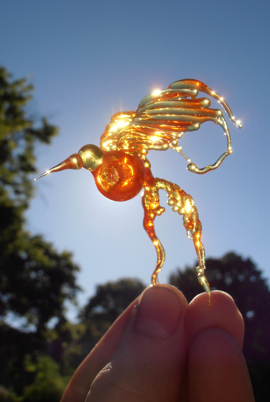 Fireborn - Lampwork bead glass phoenix bird by fairyfrog