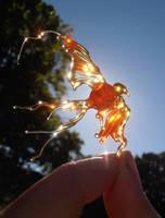 Flamechild - lampwork phoenix glass bead by fairyfrog