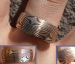 Mokume Gane twin star silver and copper ring
