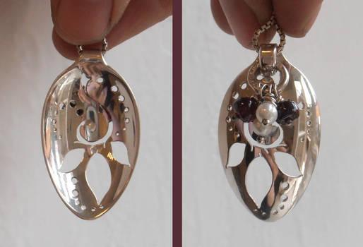 Turning leaf elven silver spoon pendant