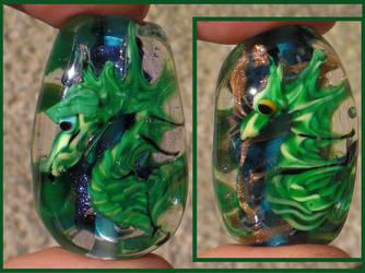 Sea dragon glass focals by fairyfrog