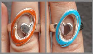 Still Alive Portal engagement rings closeup