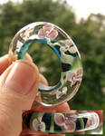 Flower wreath glass ring
