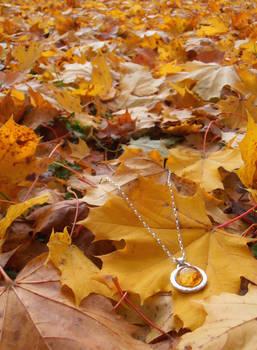 Autumn rose amber pendant